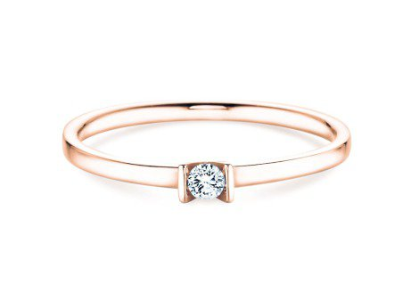 Solitärring Love<br />14K Roségold<br />Diamant 0,07ct
