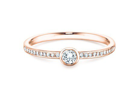 Solitärring Eternal Pavé<br />14K Roségold<br />Diamant 0,46ct