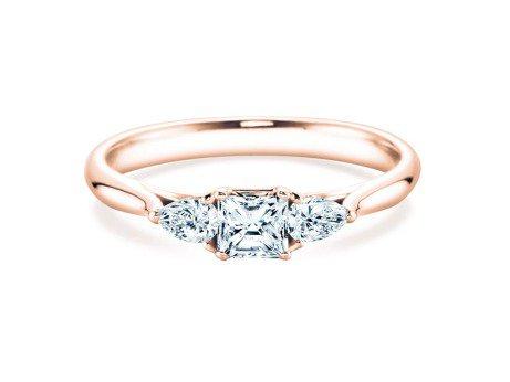Verlobungsring Glory Asscher in 14K Roségold mit Diamanten 0,53ct
