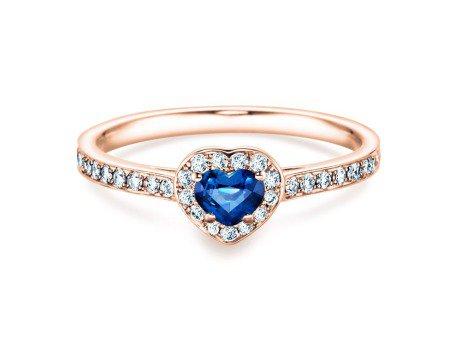 Saphirring Heart<br />14K Roségold<br />Saphir und Diamant 0,34