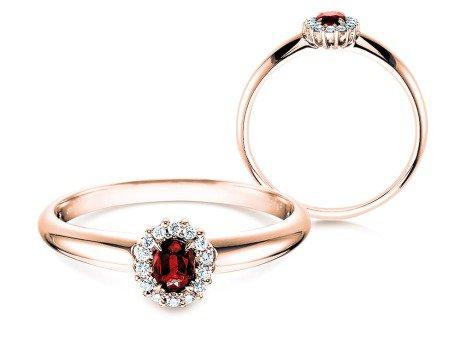 Rubinring Jolie<br />18K Roségold<br />Diamanten 0,06ct