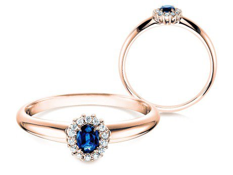 Saphir-Verlobungsring Jolie<br />14K Roségold<br />Diamanten 0,06ct