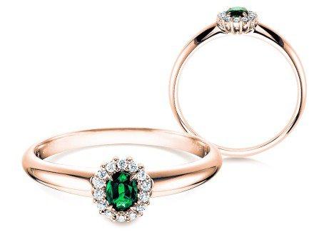 Smaragdring Jolie<br />14K Roségold<br />Diamanten 0,06ct