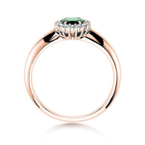 Smaragdring Windsor<br />14K Roségold<br />Diamanten 0,12ct