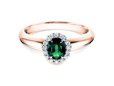 Smaragdring Windsor<br />14K Roségold<br />Diamanten 0,12ct