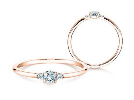 Verlobungsring Glory Petite<br />14K Roségold<br />Diamanten 0,20ct