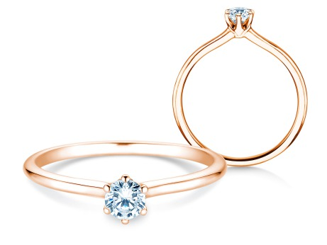 Verlobungsring Royal in 18k Roségold mit Diamant 0,25ct