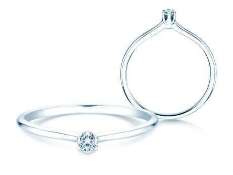Verlobungsring Royal<br />14k Weißgold<br />Diamant 0,05ct