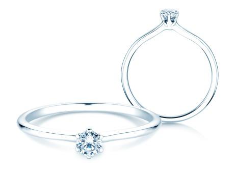 Verlobungsring Royal<br />14k Weißgold<br />Diamant 0,15ct