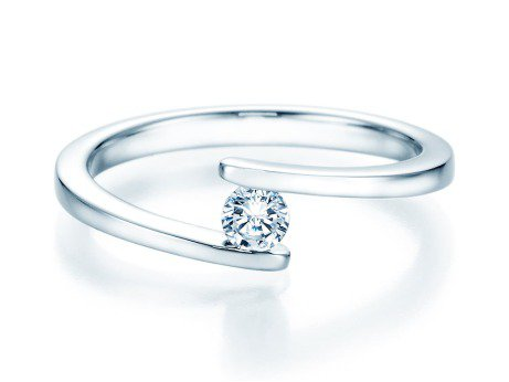 Spannring Split in 14K Weißgold mit Diamant 0,15ct