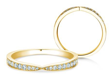 Verlobungsring V-Eternity<br />18k Gelbgold<br />Diamant 0,22ct