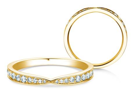 Verlobungsring V-Eternity<br />18k Gelbgold<br />Diamant 0,30ct