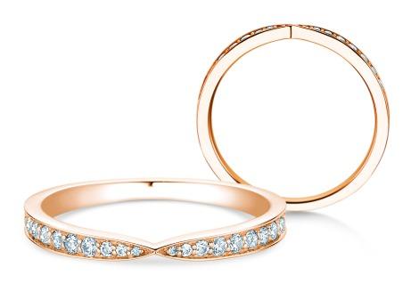 Verlobungsring V-Eternity<br />18k Roségold<br />Diamant 0,22ct