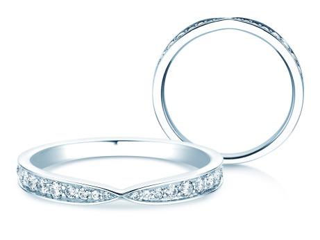 Verlobungsring V-Eternity<br />14k Weißgold<br />Diamant 0,30ct
