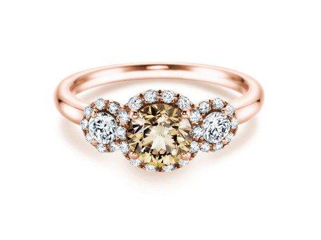 Vintage 3 Stones in 18 Karat Roségold (750/-) mit Diamanten 1,48 Karat