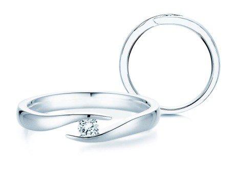 Verlobungsring Twist in Silber und Diamant 0,10ct