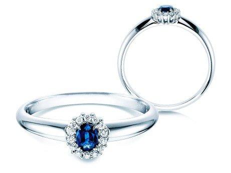 Saphir-Verlobungsring Jolie<br />14K Weißgold<br />Diamanten 0,06ct