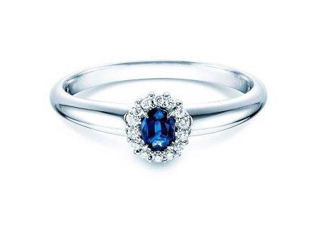 Saphir-Verlobungsring Jolie<br />18K Weißgold<br />Diamanten 0,06ct