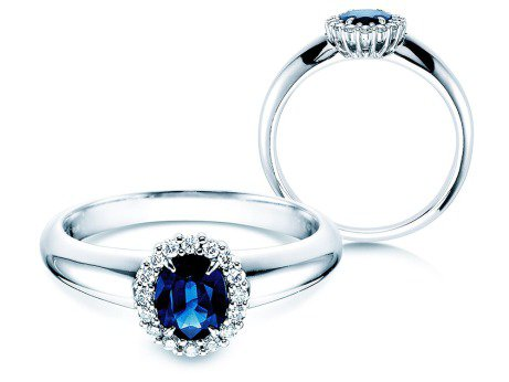 Saphirring Windsor<br />Platin<br />Diamanten 0,12ct