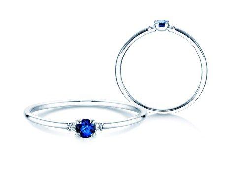 Verlobungsring Glory Petite Saphir<br />18K Weißgold<br />Diamanten 0,02ct