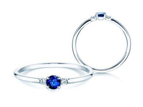 Verlobungsring Glory Petite Saphir<br />Platin<br />Diamanten 0,04ct