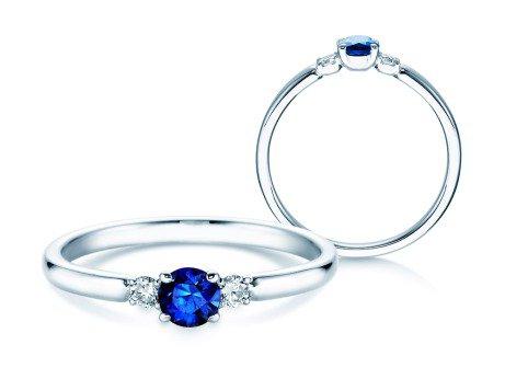 Verlobungsring Glory Petite Saphir in 18K Weißgold mit Diamanten 0,07ct