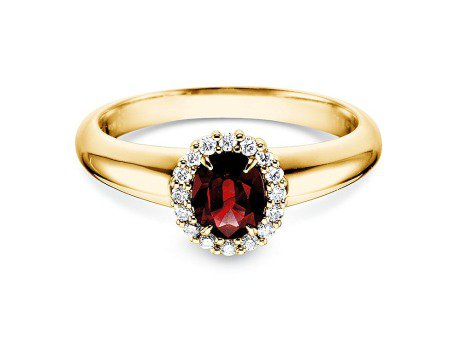 Rubinring Windsor in 18K Gelbgold mit Diamanten 0,12ct