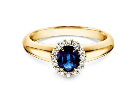 Saphir-Verlobungsring Windsor in 14K Gelbgold mit Diamanten 0,12ct