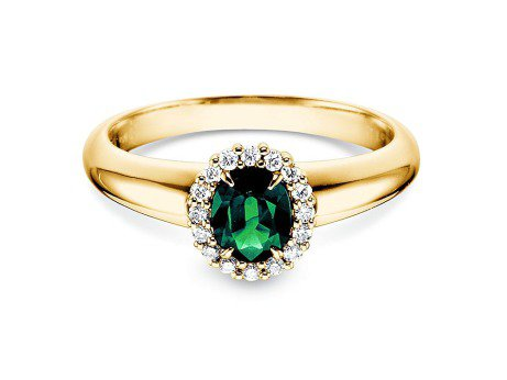 Smaragdring Windsor<br />18K Gelbgold<br />Diamanten 0,12ct
