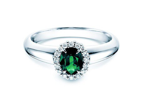 Smaragdring Windsor<br />Platin<br />Diamanten 0,12ct