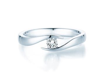 Verlobungsring Twist in Silber mit Diamant 0,15ct