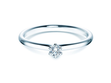 Verlobungsring Classic in Silber mit Diamant 0,10ct