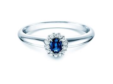 Saphir-Verlobungsring Jolie in 14K Weißgold mit Diamanten 0,06ct