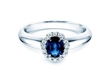 Saphir-Verlobungsring Windsor in 18K Weißgold mit Diamanten 0,12ct