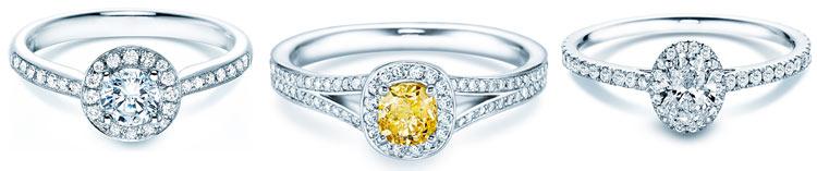 Halo-Ringe  – Hauptstein & Kranz aus Diamanten