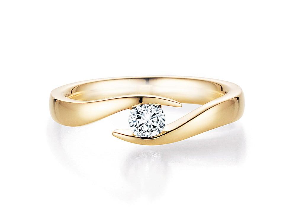 verlobungsring twist in 14k gelbgold mit diamant 0 25ct. Black Bedroom Furniture Sets. Home Design Ideas