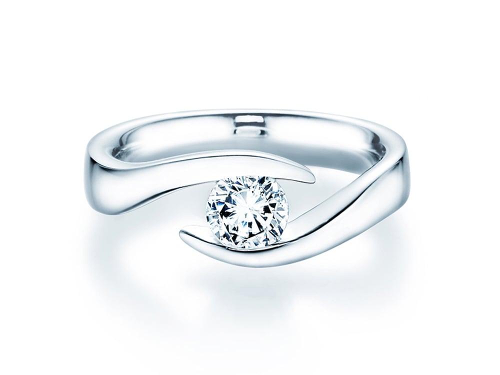 verlobungsring twist in 14 karat weissgold 585 mit diamant 0 75 karat. Black Bedroom Furniture Sets. Home Design Ideas