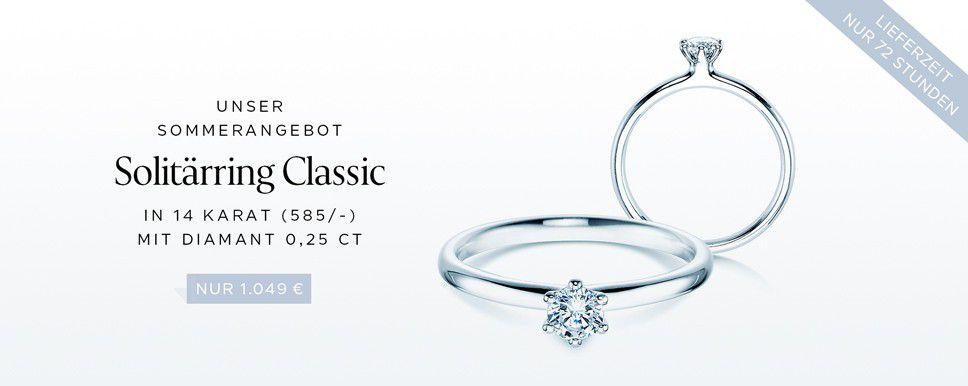 Unser Sommerangebot  Solitärring Classic  14 Karat (585/-), Diamant 0,25 ct nur 1.049 €