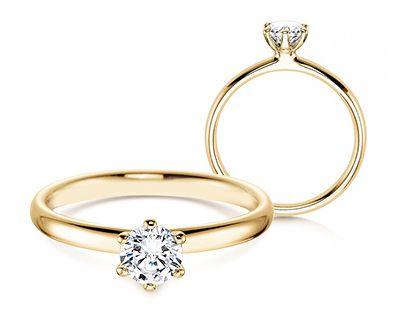 Gelbgoldringe, Verlobungsringe Gold mit Diamant