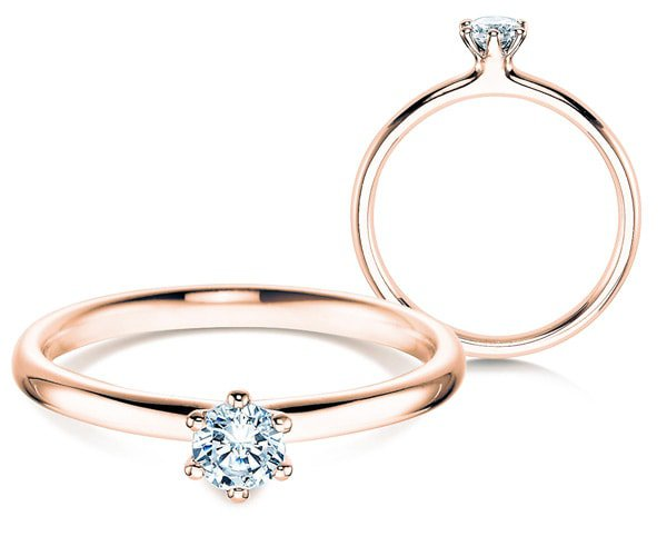 Ring Roségold mit Diamant in 0,25 ct