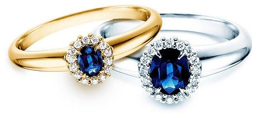Saphir Ring – Verlobungsringe Saphir, Weißgold Gelbgold mit Diamant