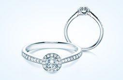Ringe Halo mit funkelndem Hauptstein Diamant und einem Kranz aus Diamanten